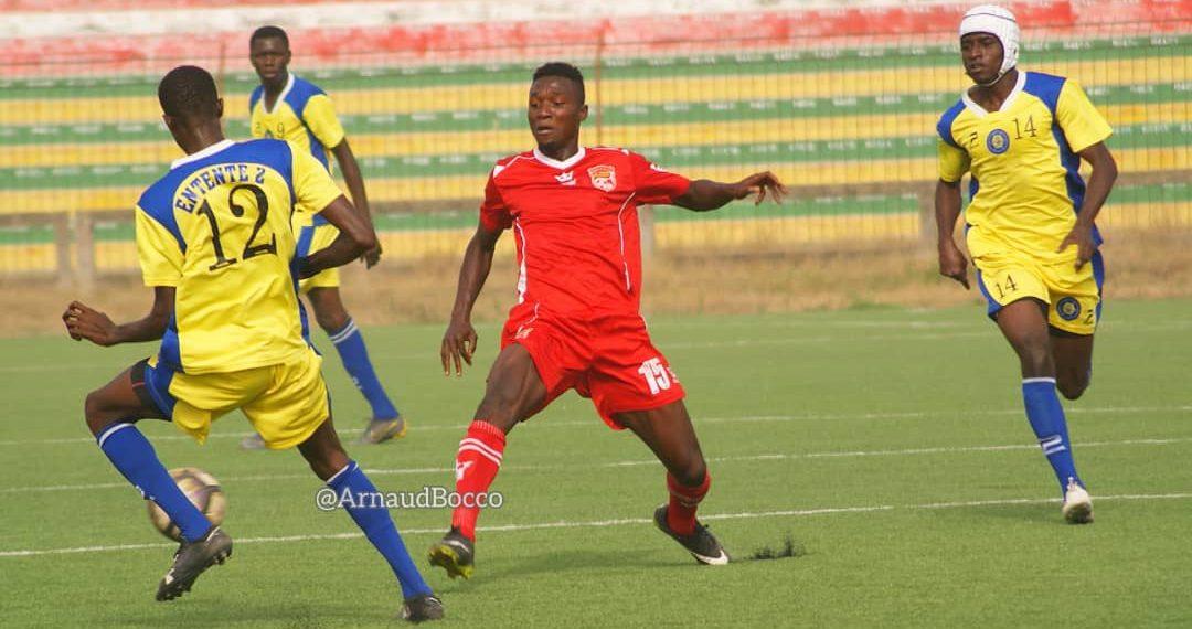 Phase de jeu entre l'Entente 2 de Lomé et Kotoko de Lavié, comptant pour la 4e journée de la D2 nationale du Togo.